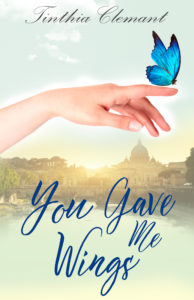 you gave me wings-italy-woman's hand with butterfly-book cover-photo of rome